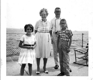 myself, Nana with her wild hair, my father and older brother at Ellis Island